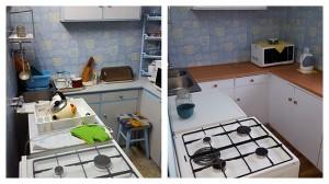 Kuchnia przed i po odświeżeniu (malowaniu, wymianie blatu i gałek)